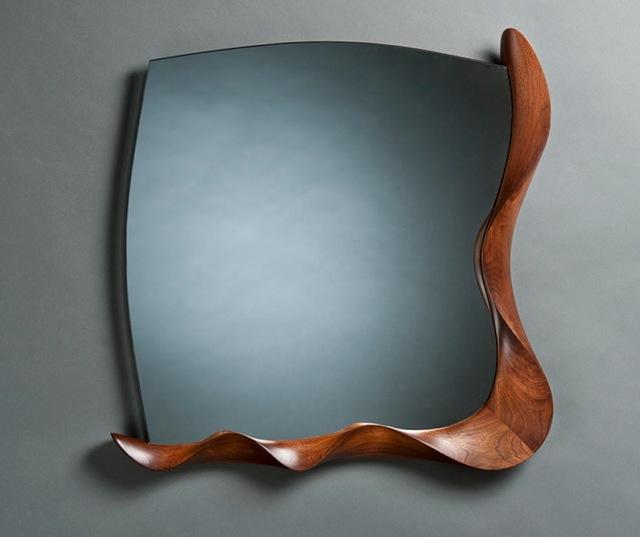 walnut open frame mirror