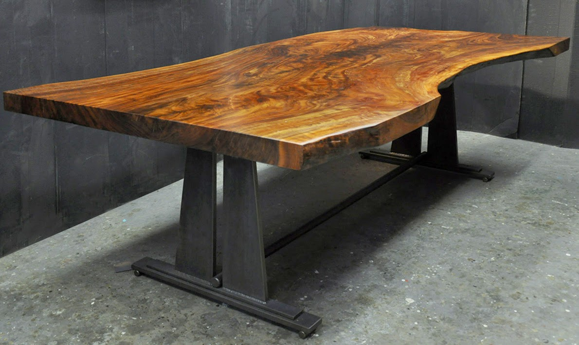 A Claro Walnut Slab Desk Available For Immediate Delivery