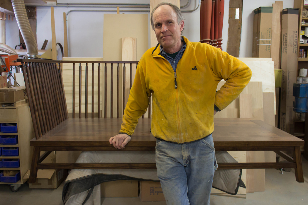 Guild of Vermont Furniture Makers Member Jas. Becker in the Studio with a Custom Piece