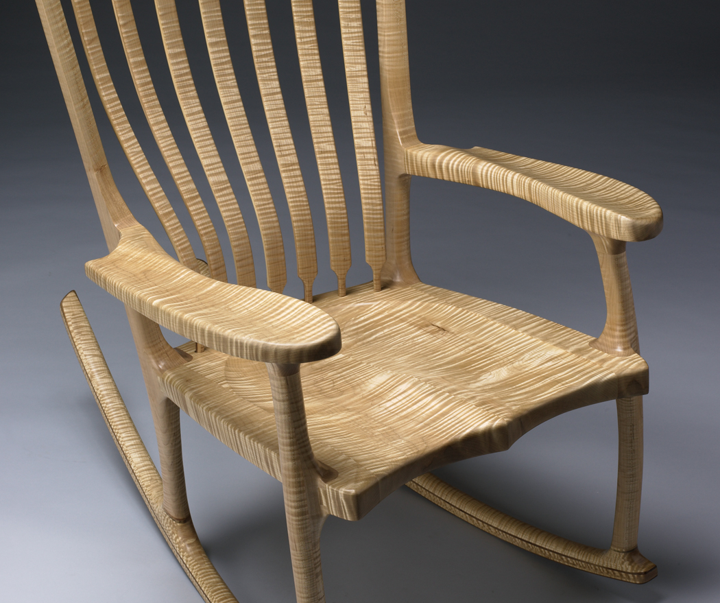 Sculpted Maple Rocking Chair