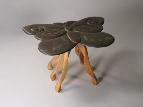 Butterfly End Table in hand carvved Vermont slate and cherry, by David Hurwitz and Kerry O. Furlani. Copyright 2006, David Hurwitz and Kerry O. Furlani. All rights reserved.