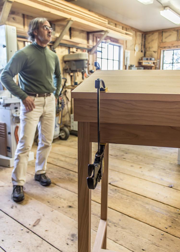 Hawk Ridge Furniture, Detail of Standing Desk in Process