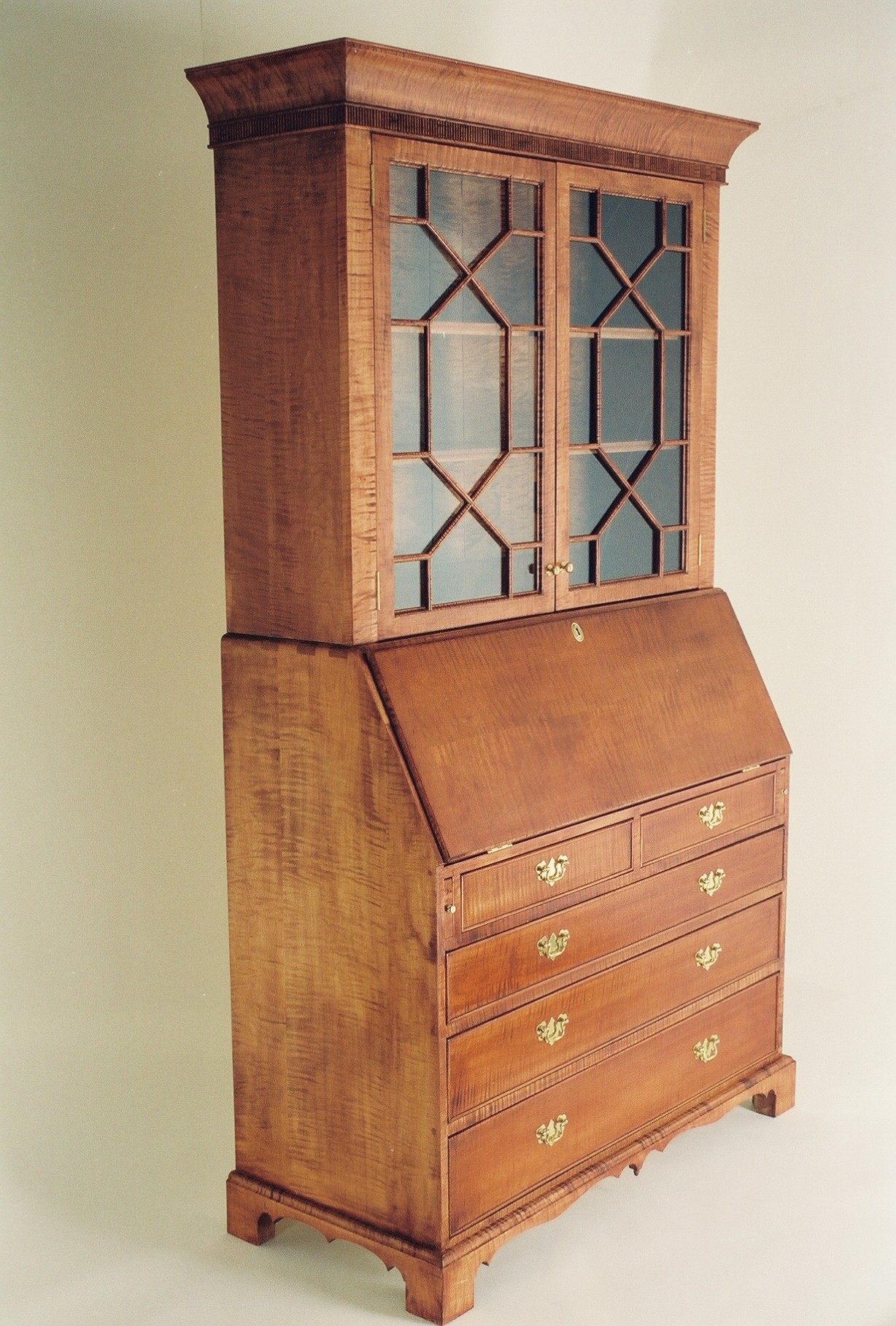 Curly Maple Secretaire Guild Of Vermont Furniture Makers