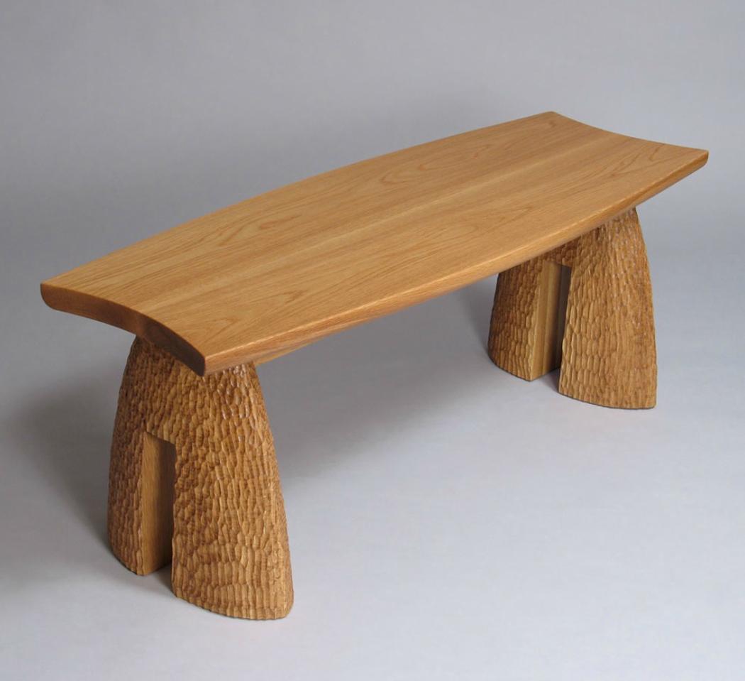 Hand Carved Oak Gardn Bench from David Hurwitz