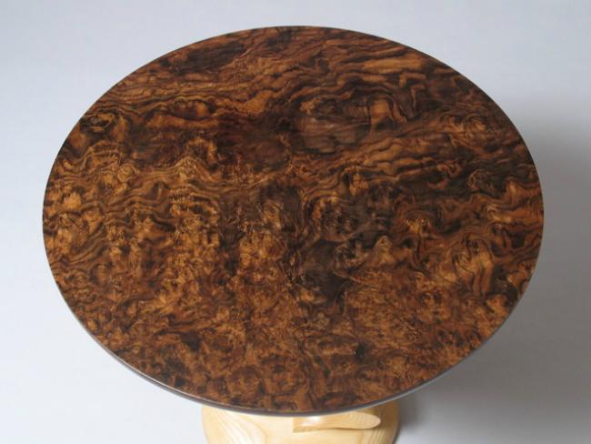 David Hurwitz Ash end table with Walnut Burl Top