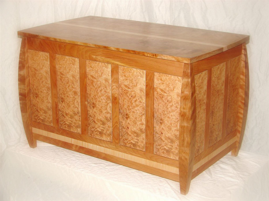 Red Birch and Burl Blanket Chest from Walt Stanley & Brookside Woodworking