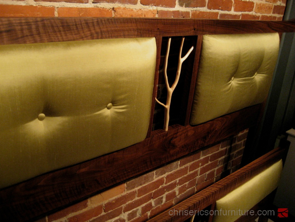 Walnut and Silk Queen Size Bed