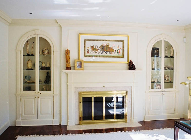 Federal Mantlepiece and Side Cabinets: Poplar, Maple, Brass, Glass and Halogen Lights by Paul Zenaty.