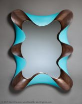 Walnut-Turquoise Taffy Mirror, carved walnut, paint, by David Hurwitz, Randolph, Vermont. Copyright 2017, David Hurwitz. All rights reserved.