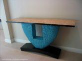 Modern Console Table by David Hurwitz, Randolph, Vermont; carved and painted poplar, Tamo Japanese quilted ash) top