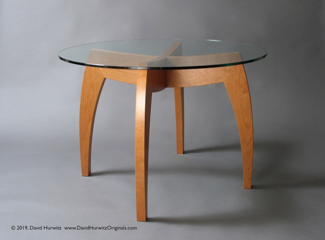 Small Modern Dining Table With 42 Quot Round Glass Top Cherry