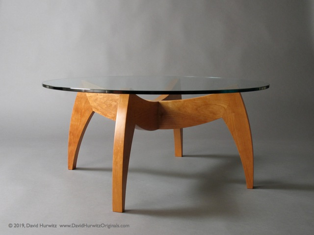 Modern Coffee Table With Vermont Cherry Base And Round Glass Table Top