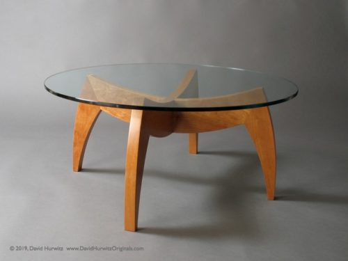 "Modern Coffee Table with Cherry base and 40"" diameter Round Glass Top, by David Hurwitz, Randolph, Vermont. Copyright 2019, David Hurwitz. All rights reserved."