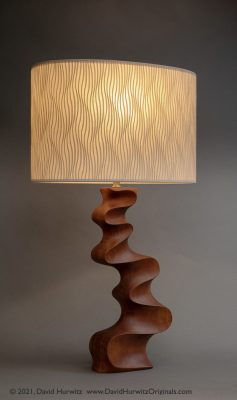 "Modern Table Lamp, 27"" h x 16"" w x 10"" d. Copyright 2021, David Hurwitz. All rights reserved."